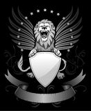 Roaring Winged Lion with Shield. Insignia black and white vector illustration