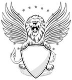 Roaring Winged Lion with Shield Insignia. Black and white royalty free illustration