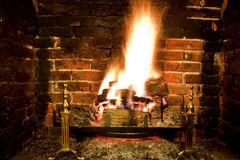 Roaring winter fire Stock Photo