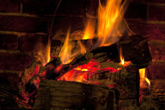 Roaring winter fire Stock Photography