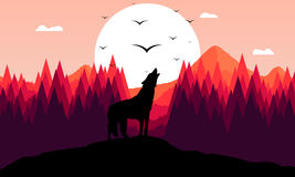 Roaring wolf. A roaring wolf, abstract vector art illustration royalty free illustration