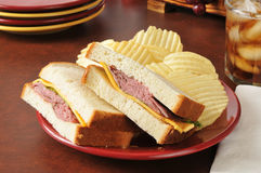 Roase beef and cheese sandwich Stock Photos