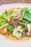 Roased beef spicy salad. Thai food -  Roased beef spicy salad Stock Photography