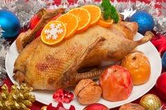 Roast πάπια. Γεύμα Χριστουγέννων. Στοκ εικόνα με δικαίωμα ελεύθερης χρήσης