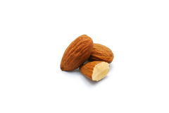 Roast almonds isolated on white background Royalty Free Stock Photography
