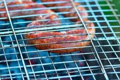 Roast appetizing meat sausage Stock Photos