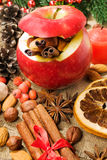 Roast apple with Christmas spices Royalty Free Stock Photography