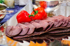Roast beef. Sliced roast beef with paprika Royalty Free Stock Photos