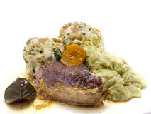 Roast beef. With bread dumplings and savoy cabbage royalty free stock photography