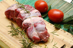 Roast beef. Fresh meat of beef ready for roasting Stock Photos