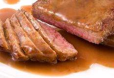 Roast Beef. Close-up of a roast beef steak royalty free stock photo