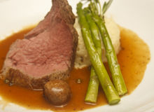 Roast Beef with Asparagus Potatoes and Mushroom Royalty Free Stock Photography