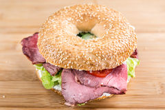 Roast Beef Bagel (selective focus) Royalty Free Stock Photography