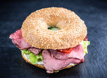 Roast Beef Bagel (selective focus) Stock Photo