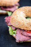 Roast Beef Bagel (selective focus) Stock Image