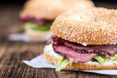 Roast Beef Bagel (selective focus) Royalty Free Stock Photos
