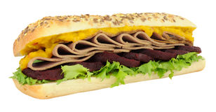 Roast Beef And Beetroot Sandwich Sub Roll Royalty Free Stock Photos