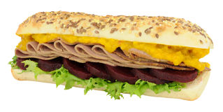 Roast Beef And Beetroot Sandwich Sub Roll Stock Photo
