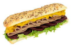 Roast Beef And Beetroot Sandwich Sub Roll Royalty Free Stock Photo