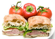 Roast beef boursin cheese ciabatta bread sandwich Stock Images
