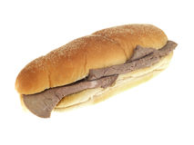 Roast Beef Bread Roll. Cold roast beef white bread sub roll isolated white background Royalty Free Stock Photo