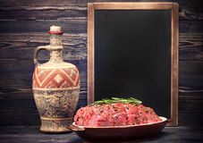 Roast beef and chalk board menu with space for text Royalty Free Stock Image