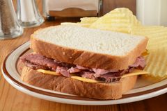 Roast beef and cheese sandwich Royalty Free Stock Image