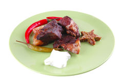 Roast beef chunks on plate Royalty Free Stock Photos