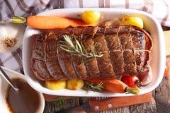 Roast beef. Close up on roast beef stock photos