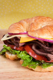 Roast Beef Croissant Sandwich Royalty Free Stock Photo