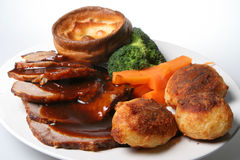 Roast Beef Dinner. Traditional English Sunday roast beef dinner Royalty Free Stock Photos