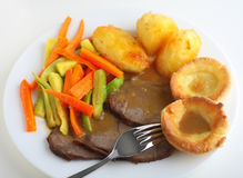 Roast Beef Dinner High Angle View Stock Photography
