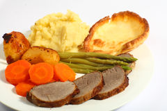 Roast beef dinner horizontal Stock Images