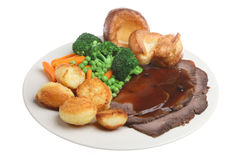 Roast Beef Dinner Isolated Stock Images
