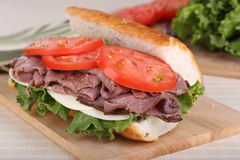 Roast Beef on French Bread Stock Photo