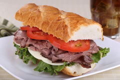 Roast Beef on French Bread Stock Photos