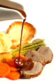 Roast beef and gravy Royalty Free Stock Images