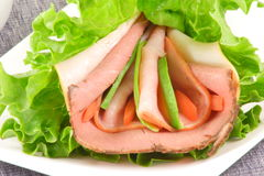 Roast beef and ham lettuce sandwich. Exquisite low calorie and gluten free sandwich Stock Image
