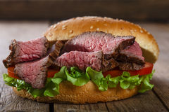 Roast beef hamburger sandwich Stock Image