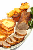 Roast beef high angle royalty free stock images