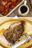 Roast beef joint with roast vegetables Stock Photos