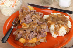 Roast Beef and Mashed Potatoes Royalty Free Stock Photo