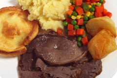Roast beef meal from above Stock Photography