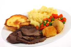 Roast beef meal angled Stock Images