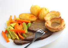 Roast Beef Meal Side View Royalty Free Stock Images