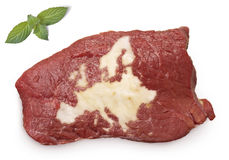 Roast beef meat and fat shaped as Europe.(series) Royalty Free Stock Image