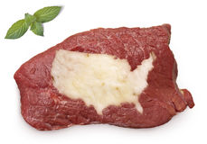 Roast beef meat and fat shaped as USA.(series) Stock Photo
