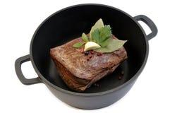 Roast beef in pan Royalty Free Stock Photos