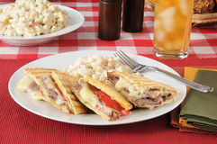 Roast beef panini on flatbread Stock Images