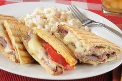 Roast beef panini with macaroni salad Royalty Free Stock Image